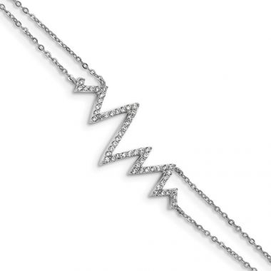Quality Gold Sterling Silver Rhodium-plated CZ Zigzag Bracelet