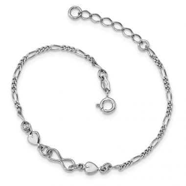 Quality Gold Sterling Silver Rhodium-Plated Heart Bracelet