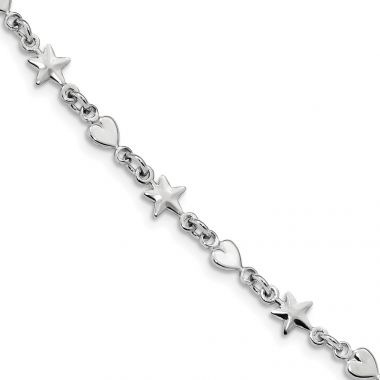 Quality Gold Sterling Silver Rhodium-Plated Star & Heart Bracelet