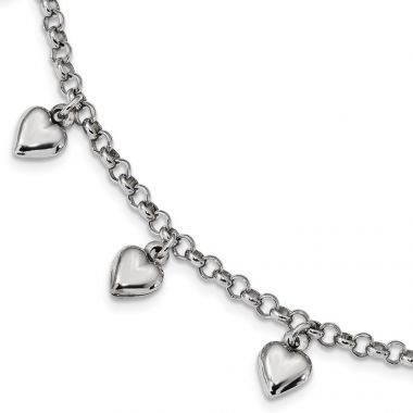 Quality Gold Sterling Silver Rhodium Plated Polished Puffed Heart Charm Bracelet