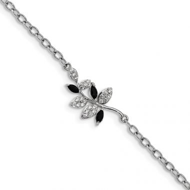 Quality Gold Sterling Silver Rhodium-plated with Black Onyx & CZ Leaf 7.5in Bracelet