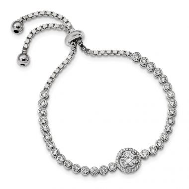 Quality Gold Sterling Silver Rhodium-plated CZ Adjustable Bracelet