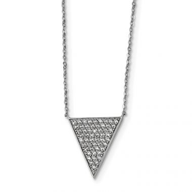 Quality Gold Sterling Silver Rhodium-plated CZ Triangle Dangle Necklace