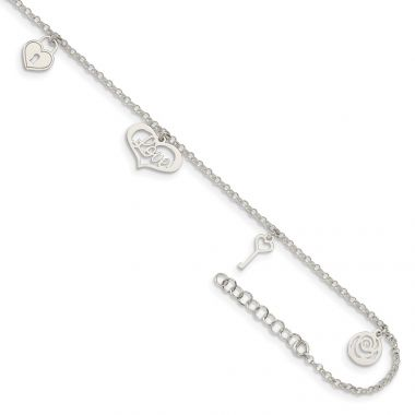 Quality Gold Sterling Silver Love Themed Dangles Anklet