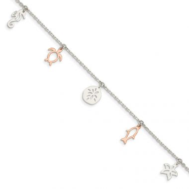Quality Gold Sterling Silver & Rose-tone Seashore Dangles Anklet