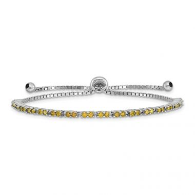 Quality Gold Sterling Silver Rhodium-plated August Birthstone Lime CZ Adj Bracelet
