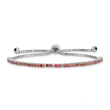 Quality Gold Sterling Silver Rhodium-plated January Birthstone Red CZ Adj Bracelet
