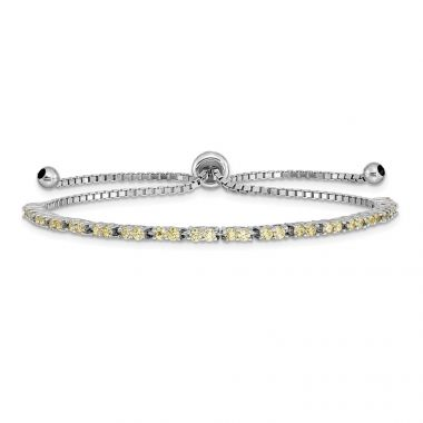 Quality Gold Sterling Silver Rhodium-plated November Birthstone Yellow CZ Adj Bracelet