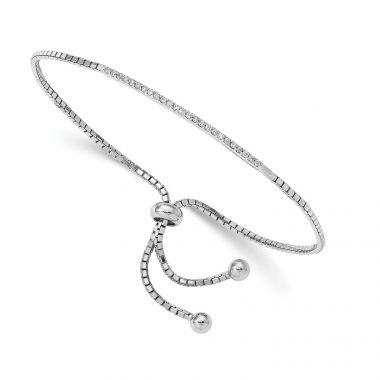 Quality Gold Sterling Silver Rhodium-plated CZ Bar Adjustable Bracelet