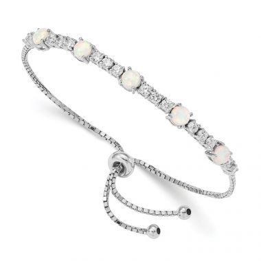 Quality Gold Sterling Silver Rhodium-plated Created Opal & CZ Adjustable Bracelet