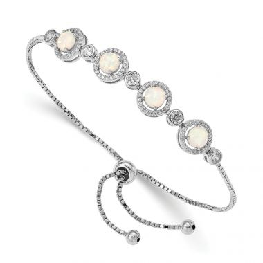 Quality Gold Sterling Silver Rhodium-plated Created Opal & CZ Halo Adjustable Bracelet