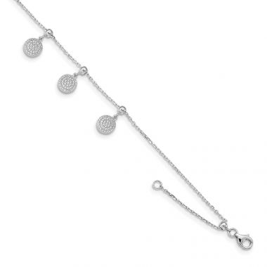 Quality Gold Sterling Silver Rhodium-plated CZ Circle Dangle 8.5in Adjustable Bracelet