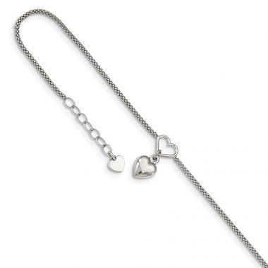 Quality Gold Sterling Silver Cabled Heart Dangle Charm with 1in ext Anklet