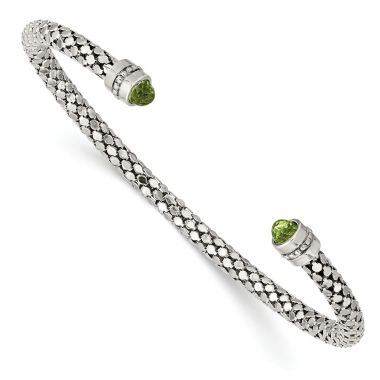 Quality Gold Sterling Silver Peridot Textured Cuff Bracelet