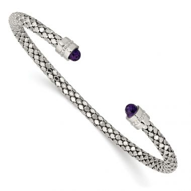 Quality Gold Sterling Silver Amethyst Textured Cuff Bracelet