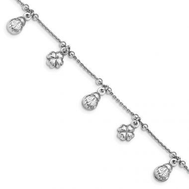 Quality Gold Sterling Silver Clover & Ladybug Dangle Bracelet
