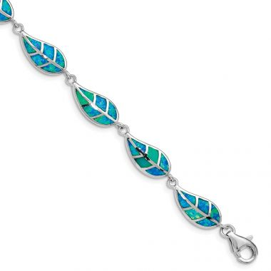 Quality Gold Sterling Silver Rhodium-plated  Blue Opal Inlay Leaf Bracelet