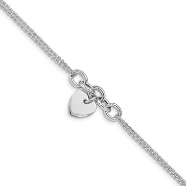 Quality Gold Sterling Silver Rhodium-plated Heart Multi-strand Bracelet