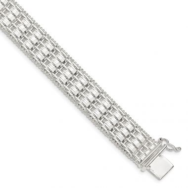 Quality Gold Sterling Silver 12mm Diamond-cut Woven 7.5in Bracelet