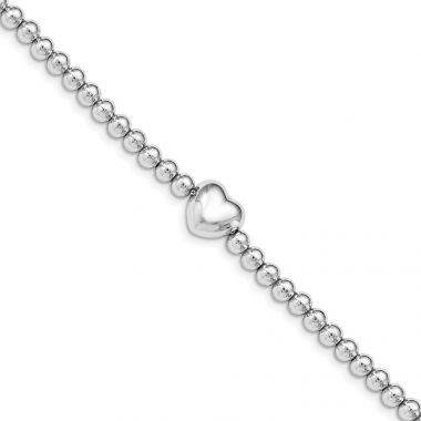 Quality Gold Sterling Silver Rhodium-plated Beaded Heart  1.25 in ext. Bracelet