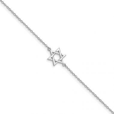 Quality Gold Sterling Silver Rhodium-plated Star of David Bracelet