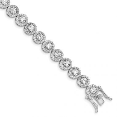 Quality Gold Sterling Silver Rhod-plated CZ Tennis Bracelet