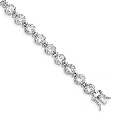 Quality Gold Sterling Silver Rhodium-plated 6mm Round CZ Bracelet