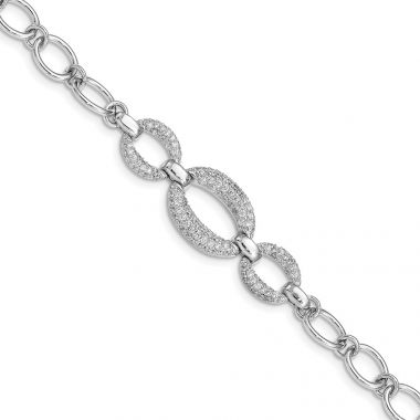Quality Gold Sterling Silver Rhodium-plated CZ 3-Oval 7.5in Bracelet