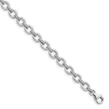 Quality Gold Sterling Silver Rhodium-plated CZ Cable Link  .5in ext Bracelet