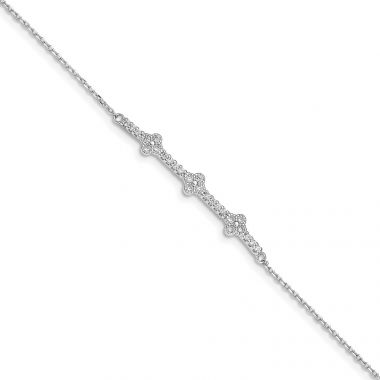 Quality Gold Sterling Silver Rhodium Plated CZ   1.25in ext. Bracelet
