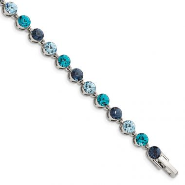 Quality Gold Sterling Silver Rhodium-plated Multi-shade Blue Crystal Bracelet