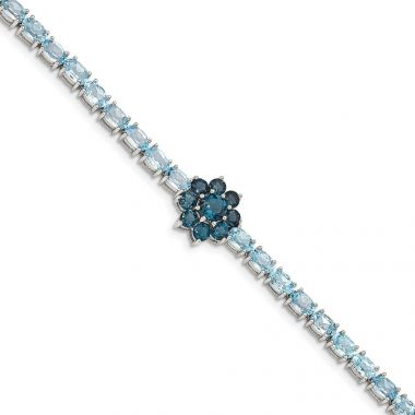 Quality Gold Sterling Silver Rhod-plated London Blue Topaz Flower Bracelet