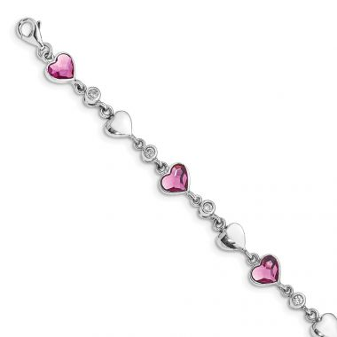 Quality Gold Sterling Silver RH-plated Clear & Pink Crystal Hearts   Bracelet