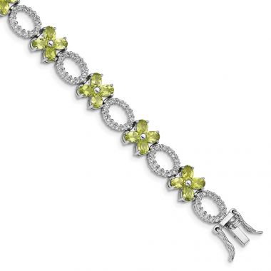 Quality Gold Sterling Silver Rhodium-plated Peridot Flower & White Topaz Bracelet