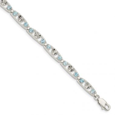 Quality Gold Sterling Silver Blue Topaz Diamond-cut Heart Bracelet