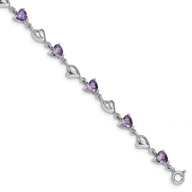 Quality Gold Sterling Silver Rhodium-plated Purple Crystal Hearts   Bracelet