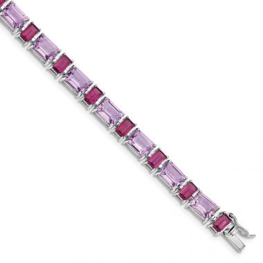 Quality Gold Sterling Silver Rhodium-plated Amethyst & Rhodolite Bracelet
