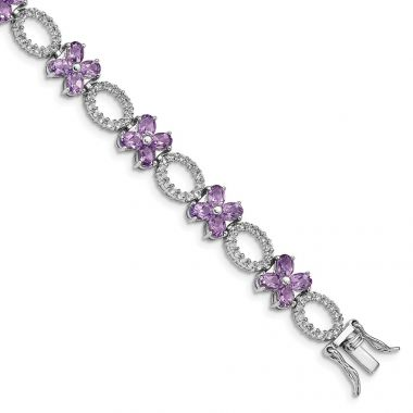 Quality Gold Sterling Silver Rhodium-plated Amethyst Flower & White Topaz Bracelet