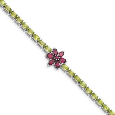 Quality Gold Sterling Silver Rhodium-plated Peridot & Rhodolite Flower Bracelet