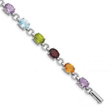 Quality Gold Sterling Silver Rhodium-plated Circle & Oval Multi-gemstone Bracelet