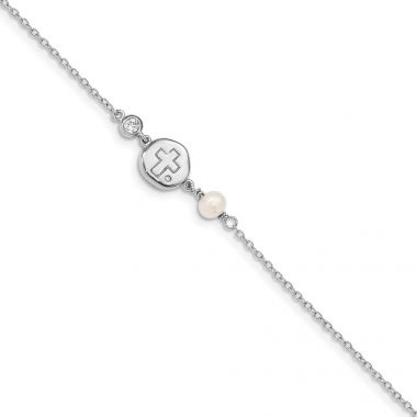 Quality Gold Sterling Silver Rhodium-plated CZ Cross & FWC Pearl  .5in ext Bracelet