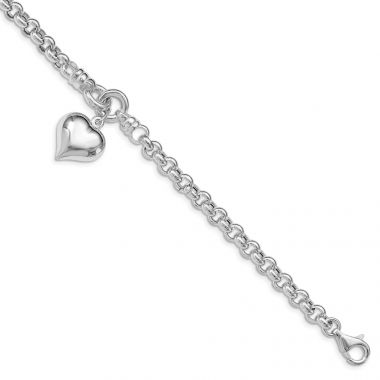 Quality Gold Sterling Silver Polished Rolo   Dangle Heart Charm Bracelet