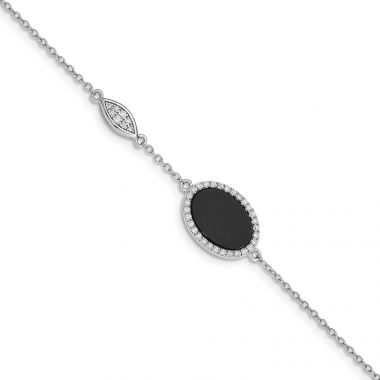 Quality Gold Sterling Silver Rhodium-plated Oval Black Agate & CZ Bracelet