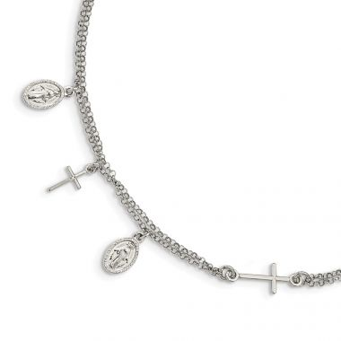 Quality Gold Sterling Silver Cross & Mary Charm with 1in .ext Bracelet