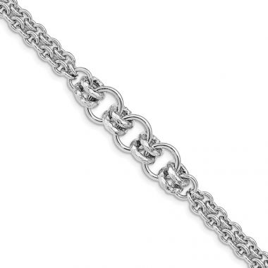 Quality Gold Sterling Silver Rhodium Plated Polished Multi Chain Bracelet