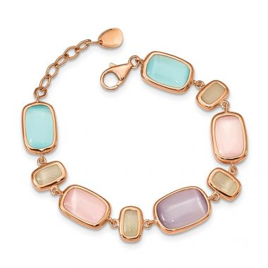 Quality Gold Sterling Silver Rose-tone & Created Cat's Eye Bracelet
