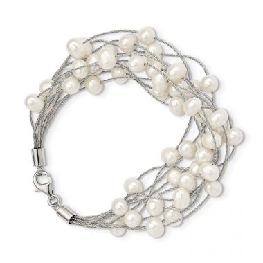 Quality Gold Sterling Silver Rhod-plat 7-8mm White FWC Pearl 10-rows Bracelet
