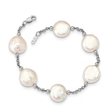 Quality Gold Sterling Silver Rhod-plated 12-13 Coin FWC Pearl 6 Stat Bracelet