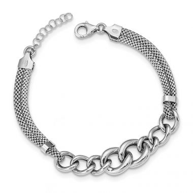 Quality Gold Sterling Silver Rhodium-plated Fancy Chain 2-strand Bracelet