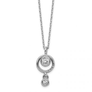 Quality Gold Sterling Silver Circle CZ  Dangle Necklace